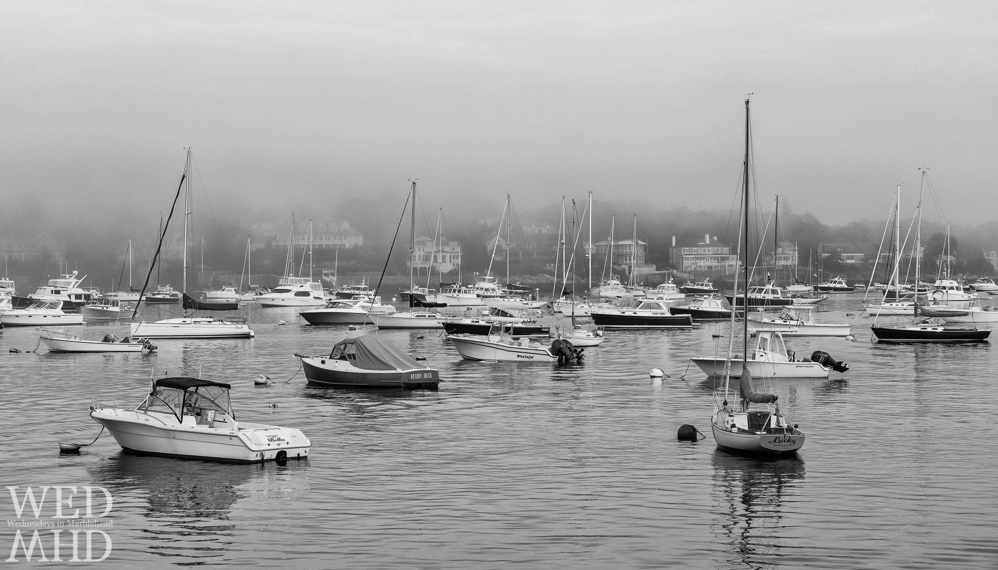 A black and white image capturing a foggy evening in Marblehead harbor featuring three boats - Lucky, Bella and Ruddy Duck